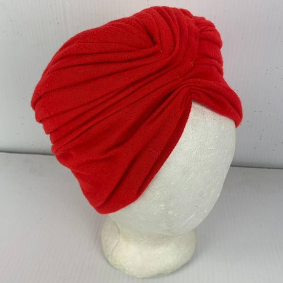 Vintage1960s Red Turban Cotton Knit Excellent